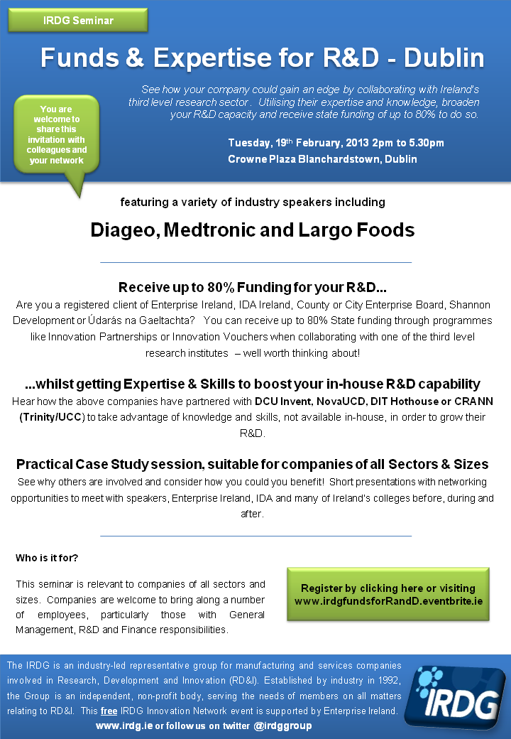 Funds & Expertise for R&D Dublin Feb 2013