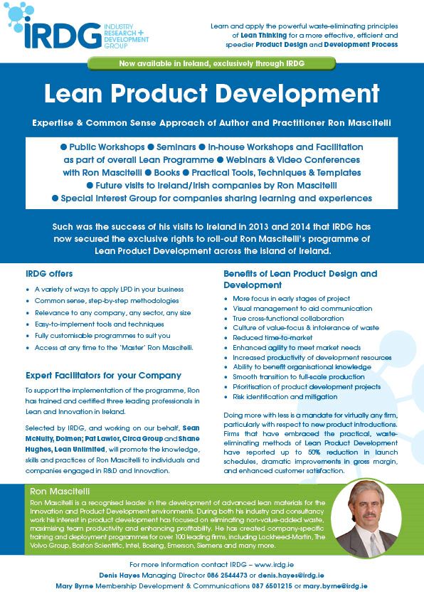 New irdg offering lean product development exclusive for Company product development