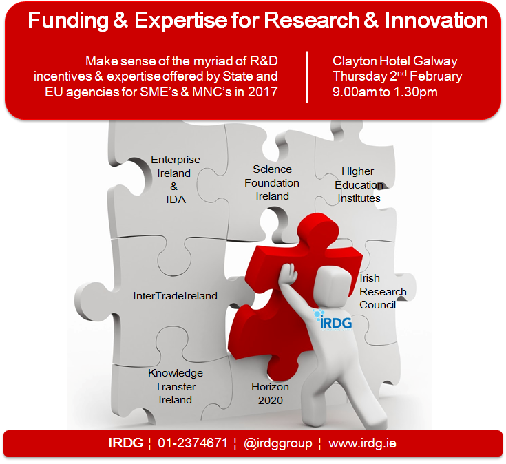 IRDG Funding & Expertise for Research & Innovation Galway 2017, funding innovation