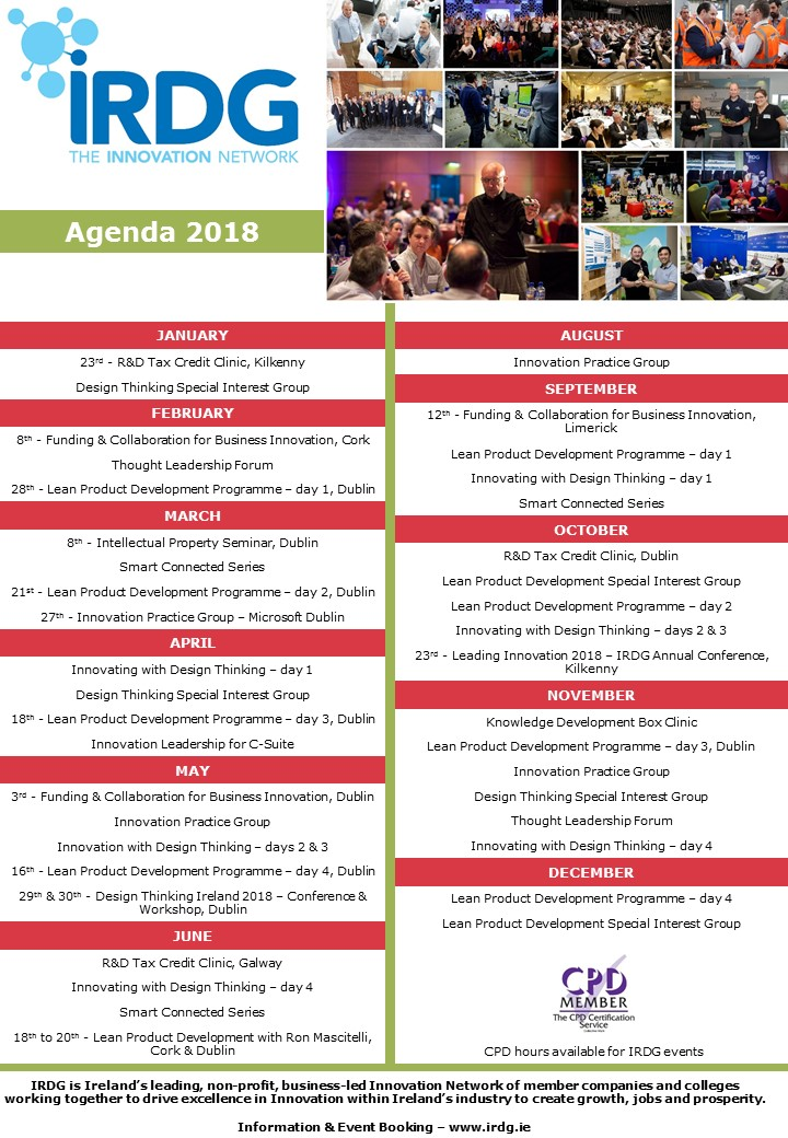 IRDG Calendar of Events 2018